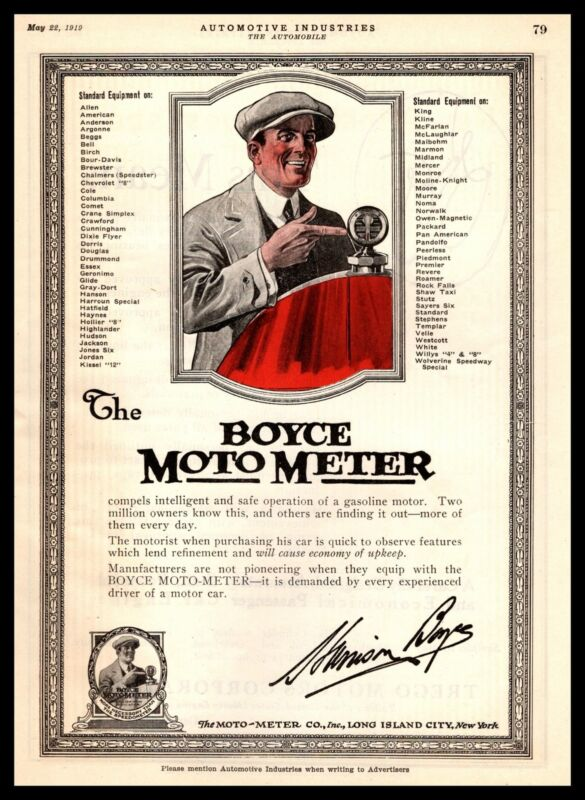 1919 The Boyce Moto-Meter Co. Inc Long Island City New York Vintage Print Ad
