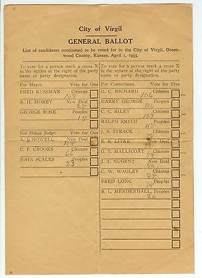 1935 Virgil Kansas General Voting Ballot With Pencil Tally