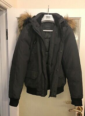 Usado, Designer Zara Man Quilted Hooded Bomber Style Jacket Dark Olive Green Size M comprar usado  Enviando para Brazil