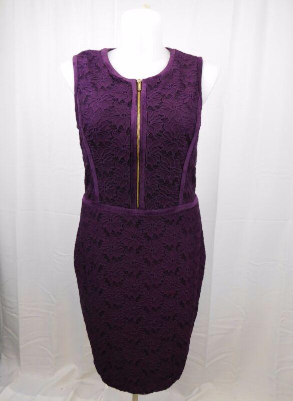 Calvin Klein Plus Sleeveless Floral Lace Sheath Dress Size 16 Aubergine #4860