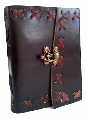 Купить Rustic Black Handmade Genuine Leather Journal Diary with Lock - Coptic Bound