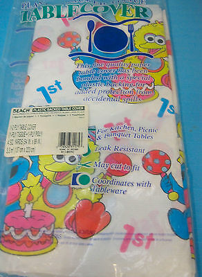 Sesame Street 1st Birthday Tablecloth Cover Cookie Monster Big Bird White Blue