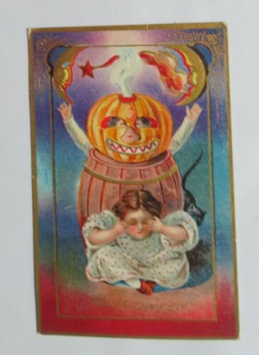 VTG Halloween Postcard Smoking Jack-O-Lantern Boy In a Barrell, Moons & Cat