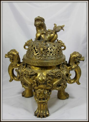 """Grand Colossal  """"Chinese Bronze Incense Burner""""  Extraordinary!  (19"""" H x 16"""" W)"""