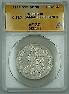 Click now to see the BUY IT NOW Price! 1833 CAPPED BUST SILVER HALF 50C O 115 ANACS VF 30 DETAILS DAMAGED CLND R 5