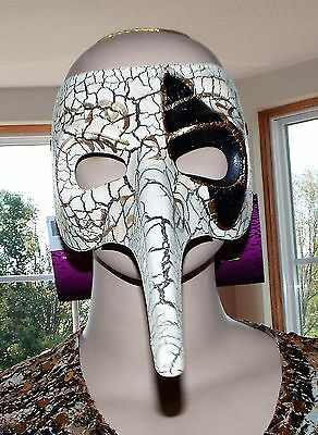 Adult Venetian Masquerade Raven HALLOWEEN Bird Crackle Mask Costume. 8