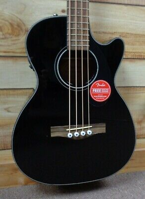 New Fender® CB60SCE Acoustic Electric Bass Solid Spruce Top Black