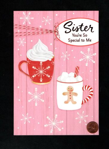 CHRISTMAS Hot Cocoa Coffee Mugs - FOR SISTER - LARGE - Greeting Card W/ TRACKING