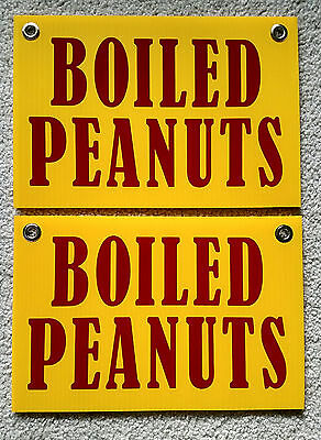 2 Boiled Peanuts Coroplast Signs With Grommets 8 X 12 Yellow Free Shipping