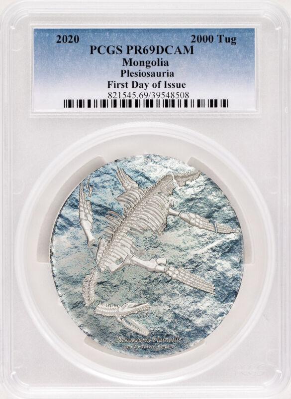 2020 Mongolia 2000 Togrog Plesiosauria 3oz .999 Silver Proof Coin PCGS PR69 FDI