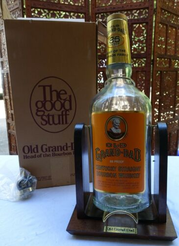VINTAGE OLD GRAND-DAD KENTUCKY BOURBON WHISKEY ONE GALLON GLASS BOTTLE