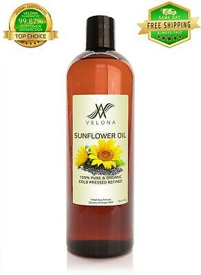 Sunflower Oil 16 oz REFINED NATURAL CARRIER Cold Pressed PURE VELONA Cooking Oils & Serving Oils