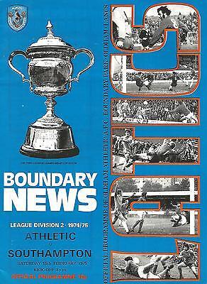 Football Programme - Oldham Athletic v Southampton - Div 2 - 15/2/1975