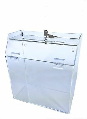 Clear Ballot Suggestion Donation Box 9w X 10h X 5d With Lock Contest Holder