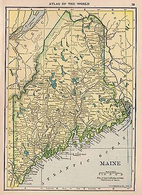 1910 Antique MAINE State Map Original Map of Maine Gallery Wall smap 3405