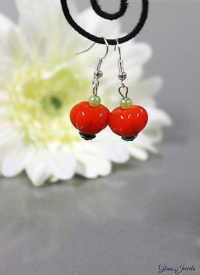 Glass Jewels Silber Ohrringe Ohrhänger Halloween Kürbis Perlen Lampwork #C081