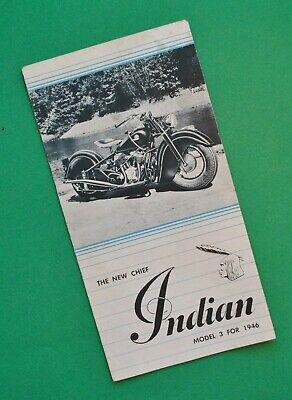Vintage Original 1946 Indian Motorcycle Brochure Chief Model 346 Sidecar Sidevan