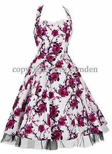 Vintage-1950s-Style-Pink-Rose-Halterneck-Party-Prom-Swing-Dress-New-8-26