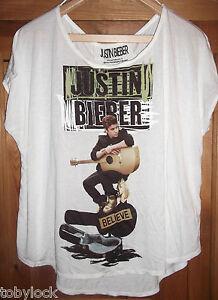Con-Licenza-Justin-Bieber-Believe-Chitarra-T-Shirt-Top-Festival-Primark-6-20-NUOVO-CON-ETICHETTA