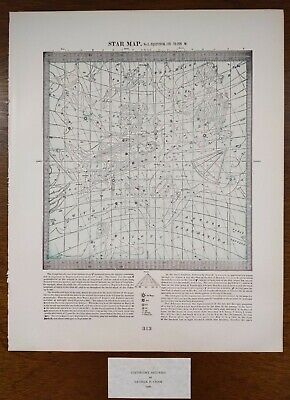 Vintage 1900 STAR MAP #3 ~ Old Antique Original ASTROLOGICAL CONSTELLATIONS