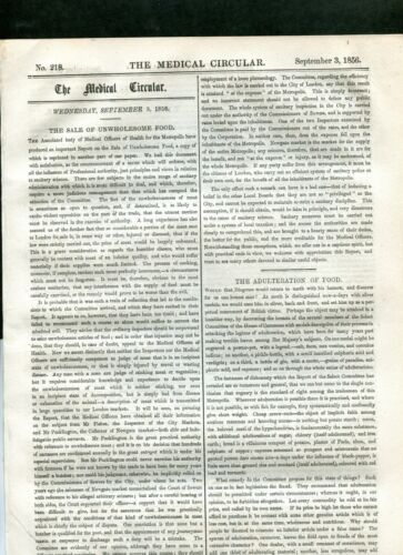1856 SEPT 3 THE MEDICAL CIRCULAR NEWSPAPER ADULTERATION FOOD DRUG ADS 12 PGS