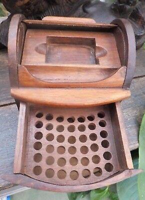 Antique Cigarette Box & Match box holder Burr maple ex Devon Very Bertie Wooster
