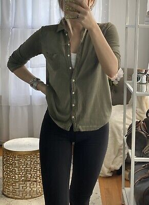 Abercrombie & Fitch Olive Green Button Up Shirt, Women's Size XS