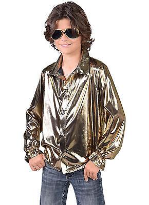 Kids Shirt - Metallic Liquid Gold  - 70's Disco / Show / Dance / Oscars / (Disco Dance Show Kostüm)