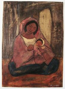 Gilberto Almeida Egas Painting Of Mother And Child On Paper Signed By The Artist
