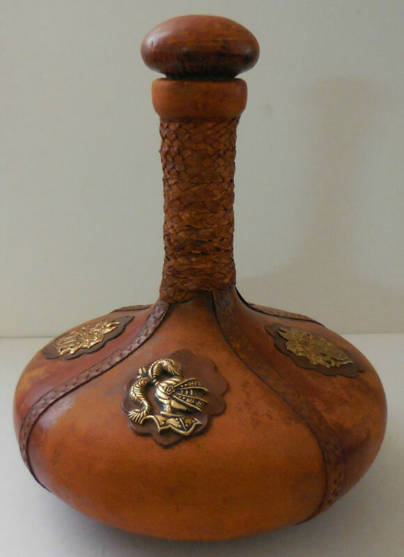 Vintage Leather Wine Dispenser MADE IN ITALY RARE!!