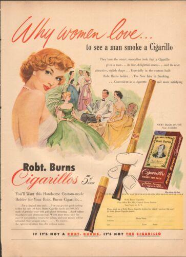 1952 Robt. Burns Cigarillos Original Antique Print Ad