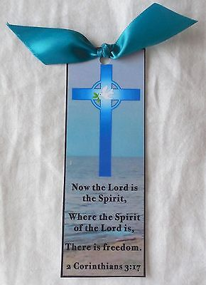 Easter Bookmark Cross   Dove Now The Lord Is Spirit Handmade New Inspirational