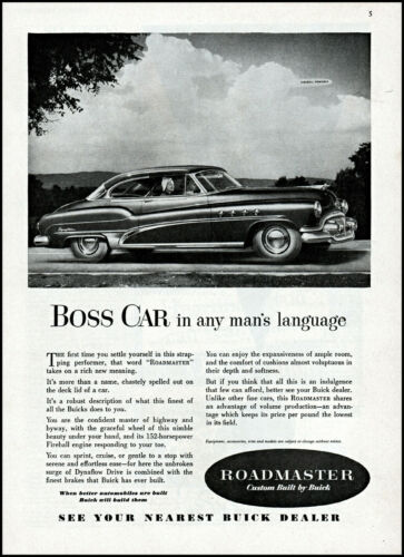 1951 Buick Roadmaster Car man woman driving clouds vintage photo print ad ads63