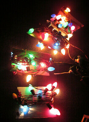 Vintage 4 Strands Old Fashioned Electric Indoor Outdoor Christmas Light Bulbs  ()