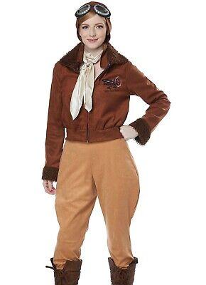 Amelia Earhart Costume Female Aviator Pilot Historical Hero Adult - Aviator Womens Kostüm