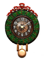 Animated Swinging Pendulum Christmas Wreath Holiday Wall Clock