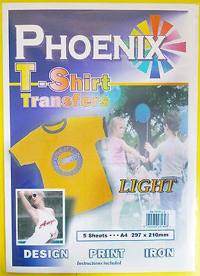 5 Pack of A4 Iron on T-Shirt TRANSFER PAPER for LIGHT fabrics For Inkjet Printer