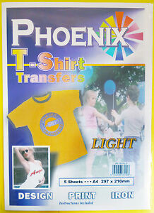 5 Pack of A4 Iron on T-Shirt Transfer Paper for LIGHT fabrics - For Inkjet Print