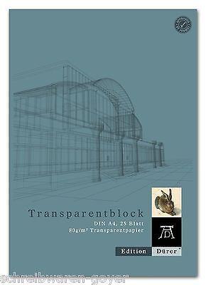 Transparentpapierblock A4 25 Blatt 80 g/qm Transparentpapier