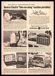 1960 General Electric BBQ Grill Cross Country Transistor FM Radio Clock Print Ad