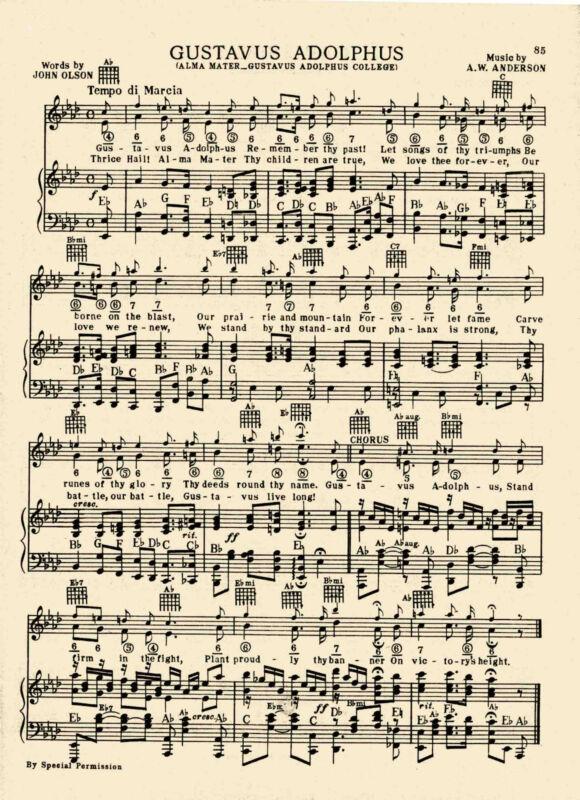 Vintage GUSTAVUS ADOLPHUS COLLEGE song sheet -c 1938-