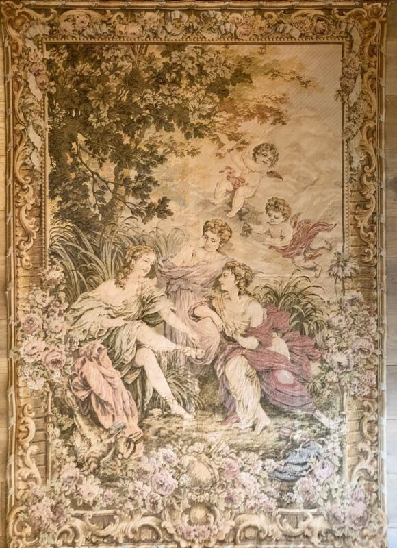 Antique Turn Of The Century Large French Wool Wall Hanging Tapestry