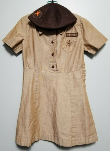 Vintage Girl Scout Brown Uniform Button-up Dress and Cap Brownie USA Size 8