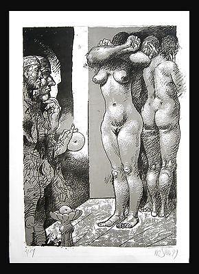 Willi Sitte 1921 Kratzau - Halle / große Lithografie, handsigniert / Auflage 1/5