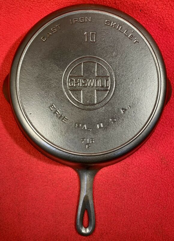 Griswold Cast Iron Size 10 Skillet Block Heat Ring 716 C