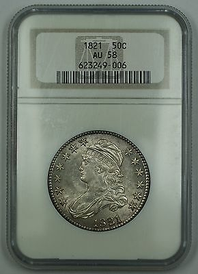 Click now to see the BUY IT NOW Price! 1821 CAPPED BUST SILVER HALF DOLLAR 50C COIN NGC AU 58 NICE LUSTER DGH