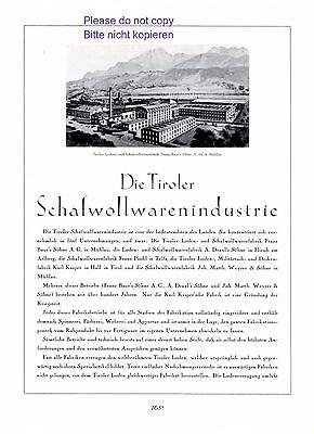 Schafwolle Tirol XL Reklame 1927 Mühlau Flirsch Telfs Hall Baur Draxl Pischl