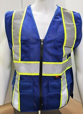 Fx Two Tone Hi-vis Blue Safety Vest With 4 Front Pocket Small To 3xl