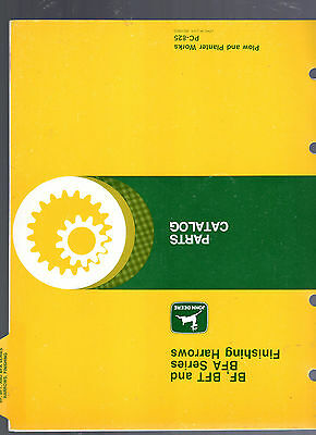 JOHN DEERE PARTS CATALOG PC-825- BF-BFT-BFA SERIES FINISHING HARROWS
