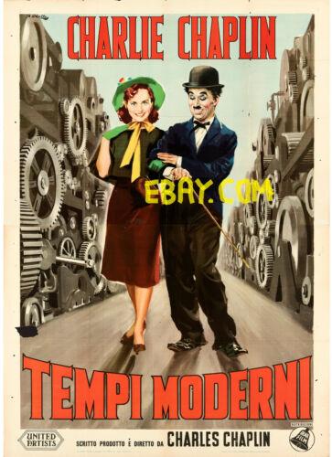 MODERN TIMES - ITALY 55x79 MOVIE POSTER 1950 CHARLIE CHAPLIN , GODDARD AFFICHE
